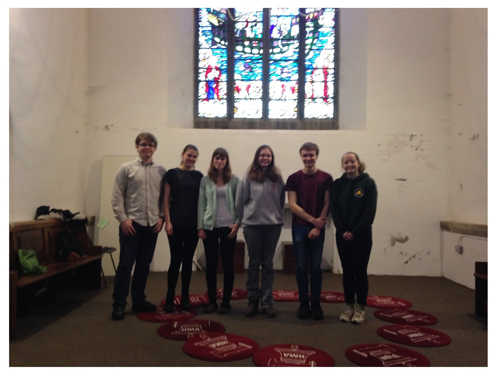 Current Members Peal Band l-r Max, Kate, Lorna, Alice, Phil and Libby